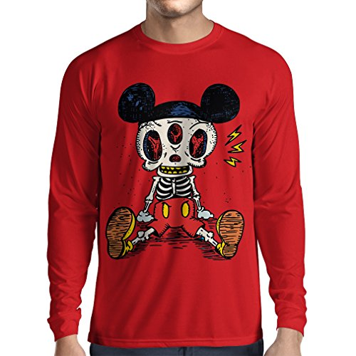 Long Sleeve t Shirt Men Mouse Skeleton Halloween Party Outfits Trick or Treat Death Skull Design (Medium Red Multi Color)