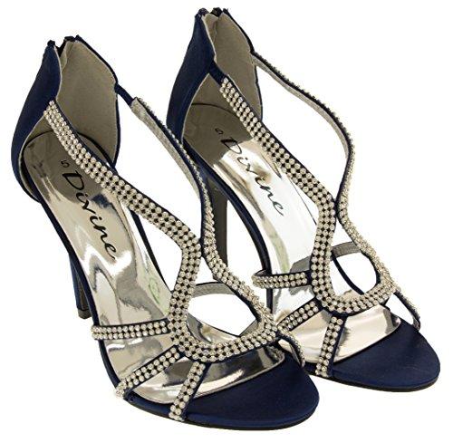 ... Divine Mujer Diamante de Satén Zapatos de Tacones Altos Azul Marino ... 89183316ab36