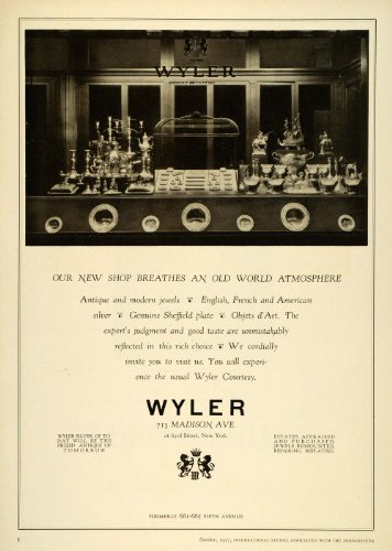 1927 Ad Wyler Shop Antiques Jewels Silver Sheffield Plate Interior Decoration NY - Original Print Ad