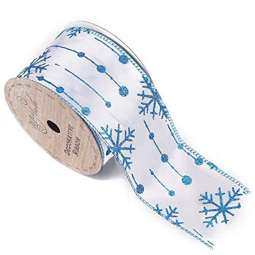 2-1/2-Inch Wide by 10 Yard Spool Wired Edge Craft Ribbon (561 Snowflake Dream -