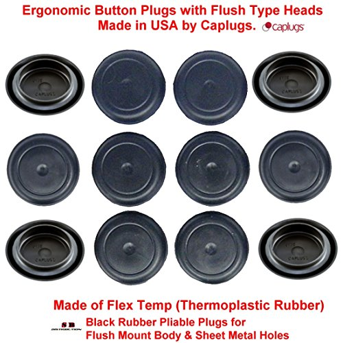 (Pack of 500) 3/4'' - 0.75 inch Black Rubber Plugs for Flush Mount Body and Sheet Metal Holes | High Grade Thermoplastic Rubber Made in USA | by CAPLUGS by Caplugs