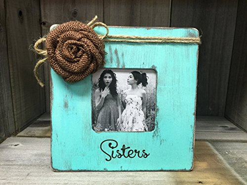 Sisters Picture Frame/Rustic Picture Frame/Shabby Chic Picture Frame/Aqua Picture Frame/Distressed Picture Frame Review