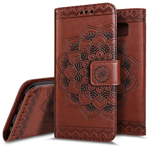 2 in 1 Leather Wallet Flip Cover Case For Samsung Galaxy S7(Brown) - 7