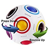 Magic Rainbow Ball, Elongdi Rainbow Magic Ball Rainbow Magic Cube 3D Intelligence Rainbow Puzzle Cube Fidget Toy (Football Toy Soccer Style)