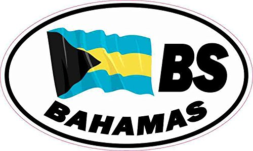 5in x 3in Oval BS Bahamas Flag Sticker Travel Luggage Decal Car Stickers