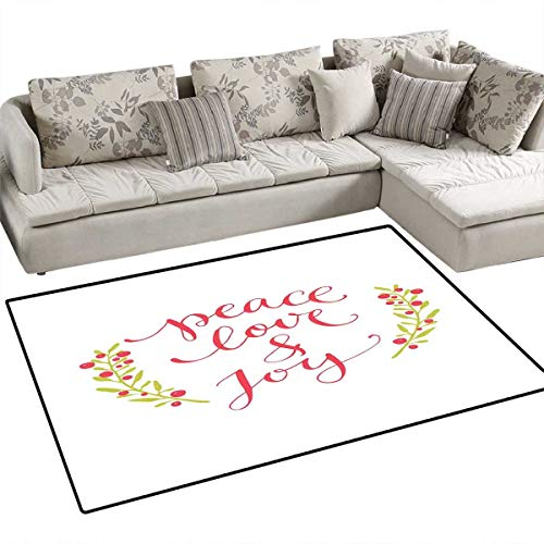 Quote Area Rugs for Bedroom Peace Love and Joy Calligraphic Xmas Text with Winter Berries Wreath Door Mats for Inside Non Slip Backing 55