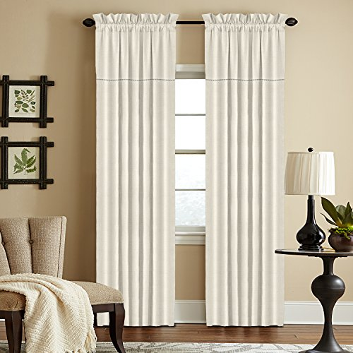 Veratex The Carmel Collection 100% Linen Living Room Rod Pocket Window Panel Curtain, Pearl, 120