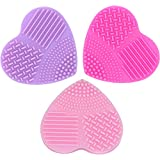 3 Pcs Heymei Women's Silicone Make Up Brush Cleaning Tool Heart Shaped Cleaner (3 Colors)