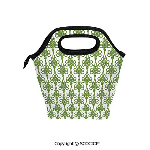 (Printed Pattern Portable Lunch Tote Bag Entangled Clover Leaves Twigs Celtic Pattern Botanical Filigree Inspired Retro Tile Decorative insulation cold outdoor picnic lunch box bag.)