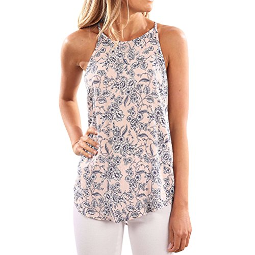 WLLW Women Crew Neck Sleeveless Floral Print Shirt Tops Tee Tanks Camis (US M, ()