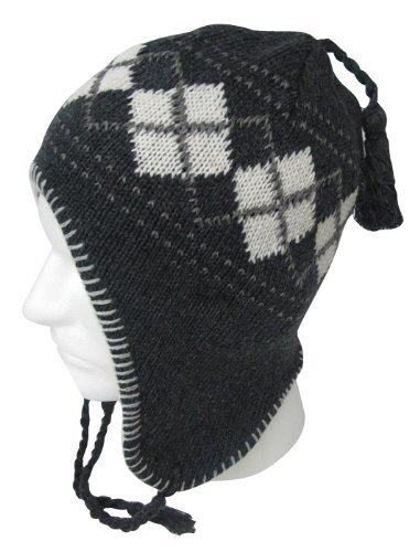 EarFlap Beanie Hat, Acrylic knit with soft warmlining, Men Size, Color Grey, Argyle Design