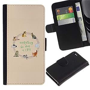 Billetera de Cuero Caso Titular de la tarjeta Carcasa Funda para Apple Iphone 4 / 4S / cats love yellow animal pattern text / STRONG
