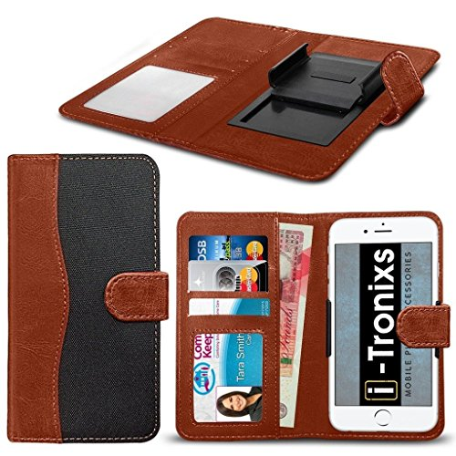 ( Brown 156.1 x 77.9 mm ) Handytasche fŸr Leagoo M7 HŸlle HandyhŸlle [ UNIVERSAL BOOK POUCH ] DŸnnFabrics and Synthetic PU Leather Kunstleder,r Spring Clamp Adjustable Flip HŸlle HandyhŸlle Skin with  Fabric Clamp Flip (Black)