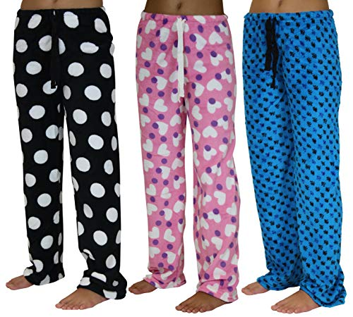 f472b68808 3 Pack  Plush Fleece Pajama Bottoms Sleep Lounge Pants for Girls