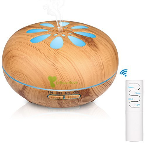 Diffuserlove Diffuser 550ML Ultrasonic Remote Control Essential Oil Diffuser Wood Grain Cool Mist Humidifier with 7 Color LED Lights Waterless Auto Shut-off for Home Bedroom Yoga Office (Yellow)