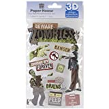 Paper House Productions STDM-163E 3D Stickers, Beware Zombies