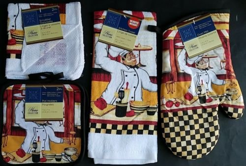 The Pecan Man Happy FRENCH CHEF Everyday Decor Kitchen Set of 6, 1 OVEN MITT & 2 Pot Holders & 2 Dish Cloths & 1 Kitchen Towel