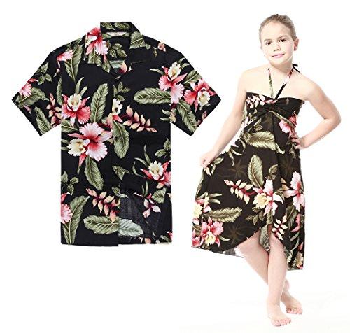 Matching Hawaiian Luau Outfit Men Shirt Girl Dress in Bla...
