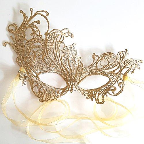 [Gorgeous Gold All Lace Renaissance Masquerade Mask - Mardi Gras - British Company] (Masquerade Mask For Prom)