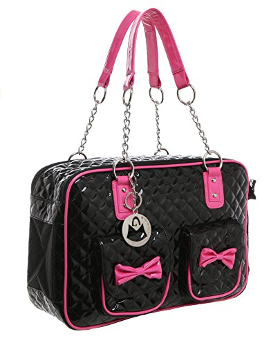 MG Collection Fashion Black Faux Patent Leather Quilt Soft Side Dog & Cat Travel Pet Carrier Tote Handbag