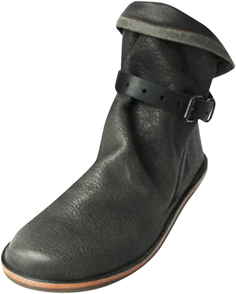 YGbuy Botas De Mujer, Cabeza Redonda, Fondo Plano Damas Botas Cortas De Color Sólido Botas De Cuero Botas De Nieve Botas Romanas Zapatos Otoño e Invierno Venta Cálida Casual Botas para La Nieve