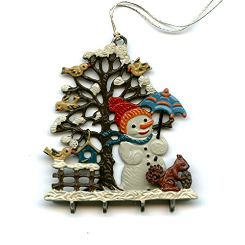 Snowman in Forest German Pewter Christmas Ornament (Pewter Snowman Ornament)