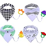 Baby Bibs,Aniwon 4 Pack Bandana Drool Bibs and 4 Baby Teething Toys Gift Set Organic Cotton Baby Bibs (Baby Boy) For Sale