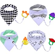 Baby Bibs,Aniwon 4 Pack Bandana Drool Bibs and 4 Baby Teething Toys Gift Set Organic Cotton Baby Bibs for Boys