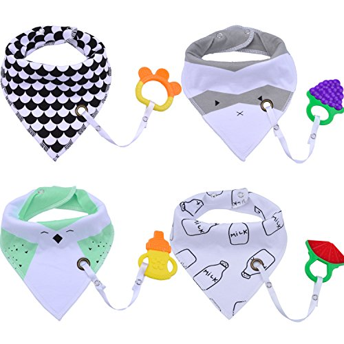 Baby Bibs,Aniwon 4 Pack Bandana Drool Bibs and 4 Baby Teething Toys Gift Set Organic Cotton Baby Bibs (Baby Boy)