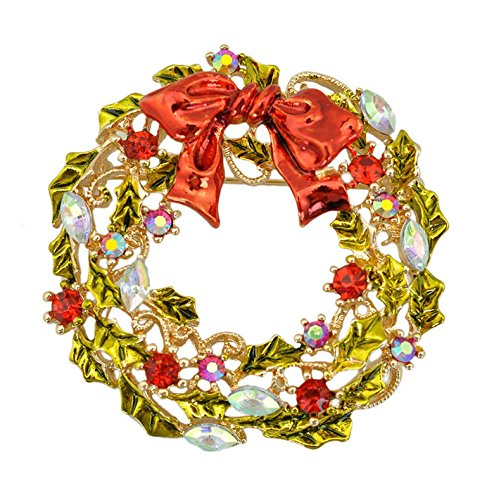 Christmas Wreath Brooch Gifts, Witspace Christmas Enamel Pin-43×43mm (Gold)