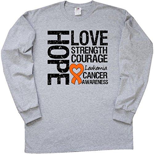 Inktastic Leukemia Cancer Hope Love Strength Long Sleeve T-Shirt by