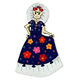 NOVICA Large Multicolor Puzzle Wood Sculpture, 12.25'' tall 'Frida In Ruffles'