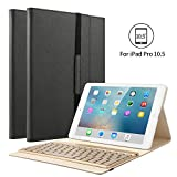 iPad Pro 10.5 Keyboard Case, KVAGO Stylish Protective Cover with 7 Colors Back-lit Detachable Wireless Bluetooth Keyboard Case for Apple New iPad Pro 10.5 -Black