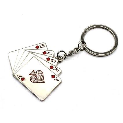 WUHUSHID Llavero de Metal Poker Llavero Llavero Colgante ...