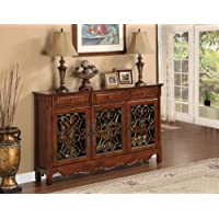 Wood Walnut 3-Door Scroll Console Table , Sideboard