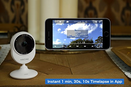 Haicam End-to-End Encrypted Time-Lapse Cloud IP Camera 1080p Wide View Angle 145 Indoor,White E22 ,Free Two Years Cloud Storage,Home Security Camera Baby Pet Monitor, Amazon Apple Google TV Apps