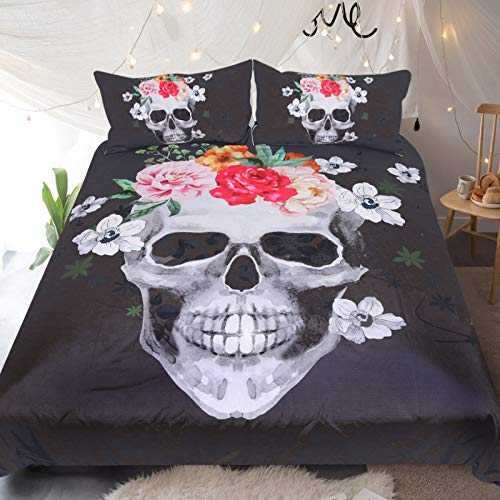 Sleepwish Sugar Skull Bedding Set Skull and Red Roses Bedspread South Africa Skull Duvet Covers Red and Black Bed Set (Twin)