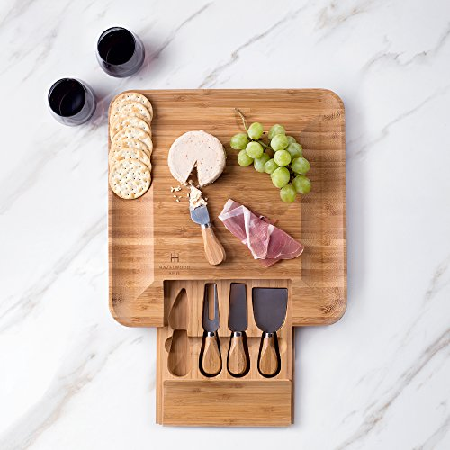 Hazelwood House Bamboo Cheese and Crackers Serving Board, Slide Out Drawer with 4 Piece Stainless Steel Knife and Server Set, Large Square 13x13