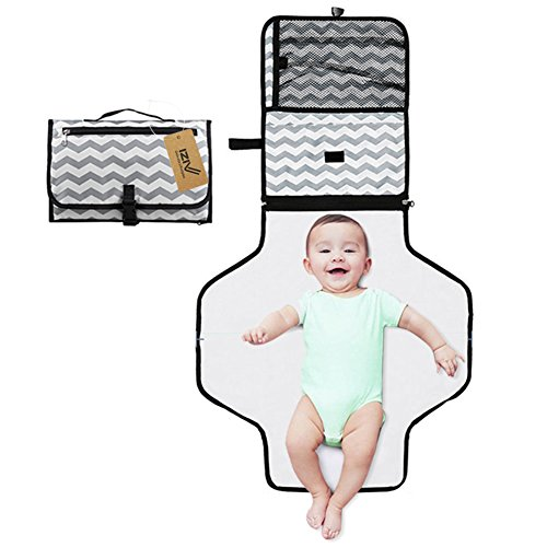 3-in-1 Diaper Clutch Changing Station Babies and Toddlers iZiv Portable Clean Hands Changing Pad Grey Diaper-Time Playmat with Redirection Barrier for Use With Infants