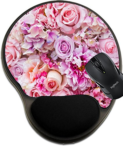 MSD Mousepad Wrist Protected Mouse Pads/Mat with Wrist Support Design 20228421 Floral Background Lot of Artificial Flowers in Colorful Composition