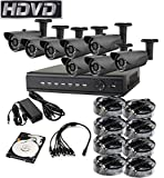 HDVD™ HVD-P-T88B8 HD-TVI CCTV 8CH DVR with 2.0MP 1080P 8 Camera Package Full HD 1080P HDMI Output Night Vision IR Indoor/Outdoor Bullet pipe Camera 1TB HDD Installed