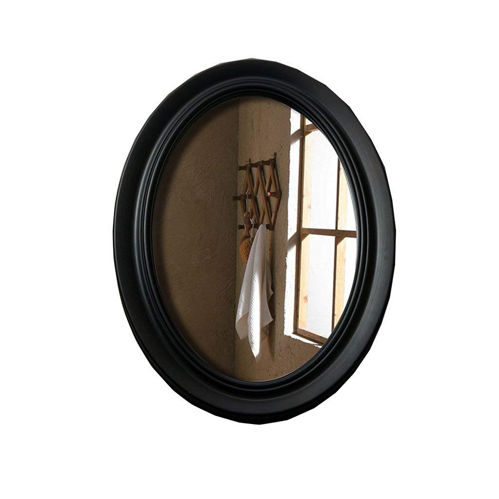 Black SMC Mirror Solid color Oval Wall Mounted Vanity Mirror Bathroom Anti-Fog Toilet Finishing Mirror Living Room Decorative Mirror (color   White)