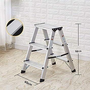 STOOL Escaleras caseras Taburetes Interiores multifuncionales Escalera de 2 escalones Escalera plegable portátil para el hogar Espesar aleación de aluminio de doble cara Altura 58 cm: Amazon.es: Bricolaje y herramientas