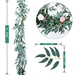 TOPHOUSE-2-Pack-6-Feet-Artificial-Greenery-Garland-Faux-Silk-Hanging-Willow-Leaves-Vines-Wreath-for-Wedding-Backdrop-Wall-Decor-Flower-Arrangement-Gray-Willow-Leaves-Garland-2