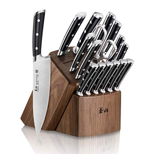 Cangshan S Series 1024043 German Steel Forged 17-Piece Knife Block Set, Walnut
