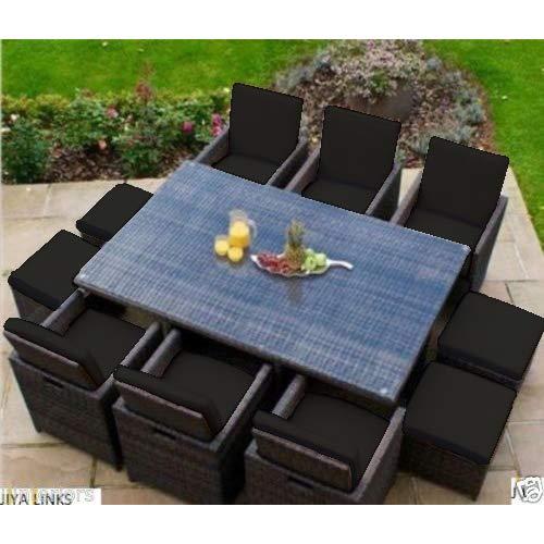 Gardenista Black Replacement 16pc Cushion Set for 10 Piece Outdoor Patio Rattan Furniture Set