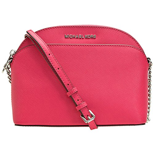 (Michael Kors Emmy Saffiano Leather Medium Crossbody Bag in Ultra Pink )