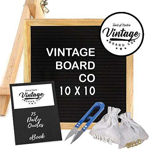 Letter Board: Felt Wooden Board 10 x 10, Changeable letters, Includes Stand, Free Ebook, and Tool, Vintage Board Co. Oak Hobby Board