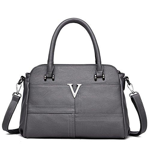 SDINAZ Nuevo bolso de mujer diseño Medio Moda Bolsa de asa superior Bolso de hombro de cuero de la PU para dama Gris Oscuro