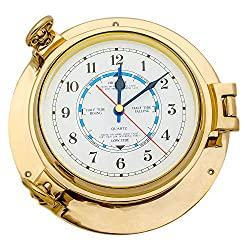 9 Solid Brass Porthole Time and Tide Clock